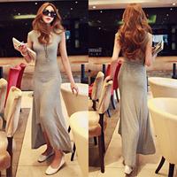 2013 cotton fashion summer irregular sweep one-piece dress slim long dovetail skirt