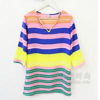Summer silks and satins multicolour stripe loose half sleeve one-piece dress summer short skirt