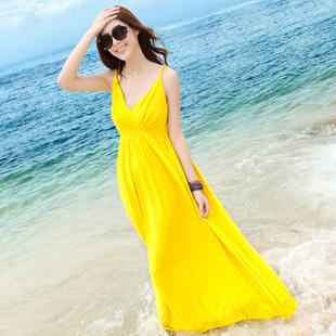 2013 bohemia V-neck slim waist beach racerback dress spaghetti strap long one-piece dress expansion skirt