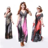 Bohemia one-piece dress summer elastic short-sleeve plus size slim viscose long skirt