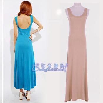 Big u racerback sexy ultra long expansion bottom spaghetti strap slim vest one-piece dress full dress female