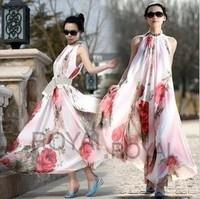 Bohemia chiffon one-piece dress plus size elegant big red flower suspender skirt loose expansion ruffle bottom full dress