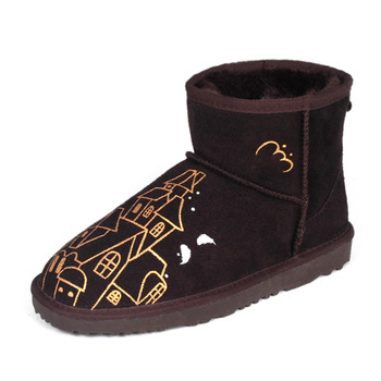 Free shiping Slip-resistant outsole women's cow muscle shoes snow short boots cowhide thermal graffiti shoes flat heel boots