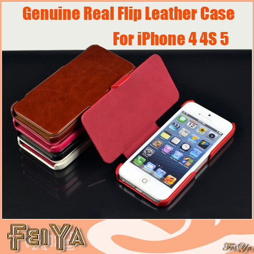 Newest Real Genuine Leather Case for iphone Flip Crazy Horse Pattern Real Leather Smart Cover Case for iphone 4 4S iphone 5(China (Mainland))