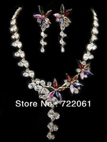 Spot wholesale and retail fashion jewelry inlaid colored zircon flower butterfly earrings necklace suits