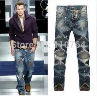 2014 D Hot Sale Men's designer ripped jeans Fashion Brand slim pants cotton paint D denim Man Washing Distressed Trousers