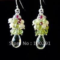 Free Shipping!!!10piece/lot 925 Sterling Silver Earring Hook Earrings Faceted Crystal Earings
