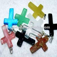 100pcs/Lot Free Shipping!!25mm Cross Fashion Pendant-Nature Stone Pendant