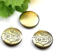 antque copper 20mm round photo box pendant for necklace