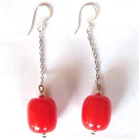 free ship fashion red coral jewelry findings earrings 10pair/lot
