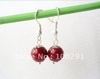 free shipping!!50pcs/lot The American and European pop red pearl earrings texture