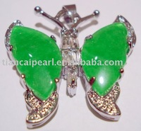 Jewellery silver natural green jade dragonfly pendant