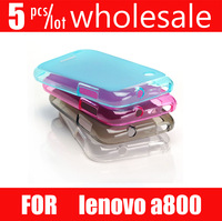 5pcs/lot hot selling Transparent TPU Case for Lenovo A800 Soft Cover with Screen Protector Retail Packaging