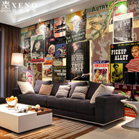 Vintage non-woven wallpaper tv sofa bedroom wall wallpaper mural wallpaper