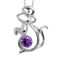 Jewelry zodiac mouse 925 silver amethyst pendant 21x15mm