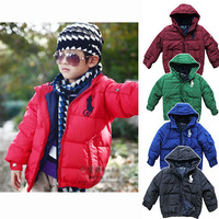 Child polo cotton-padded jacket child children's clothing wadded jacket outerwear male winter 2013 baby short design with a hood