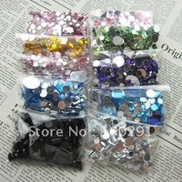 Free ship!!! 6000pcs 1.5-10mm mixed cell phone decoration kawaii oval Crystal Flat Back Rhinestone