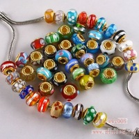 Free Shipping Mixed Flower gold plated  Glass Lampwork Bead Fit Charm Bracelet