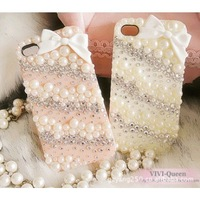 Free shipping,bling diamond rhinestone mobile case cover for Apple iPhone 5 ipone 4 4s case cell generations of pearl case,SJ15