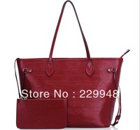 2013 winter new European and American leather shopping bag OL shoulder portable water ripples big bag women