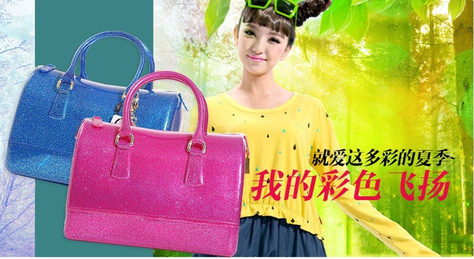 2013 Famous Brand Name Totes Designer Women F handbag Beach candy Handbags Silicon candy Totes Bags(China (Mainland))