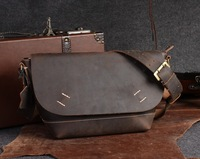 2014 vintage brand cowhide genuine leather brown man shoulder bag designer crazy horse leather messenger bag for men,  wholesale