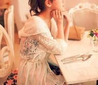 happy SZ  Han edition hooded bind lace white gauze spell chiffon shawl jacket a piece FTSY0013