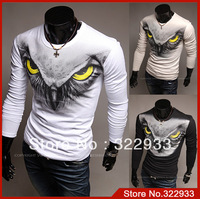 Hot 2013 Fall New Men's Creative eagle Eye 3D Creative Animal Print T-Shirt Mens Punk 3D Long Sleeve Tee T Shirt Asia M-XXL