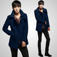 2013 spring new arrival tidal current male slim trench double breasted medium-long overcoat male trench male