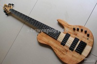 6 strings electric bass guitar natural one piece body Chinese guitar 130501