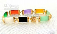 Wholesale - charming Jewellery 18K GP Multicolor Jade Bracelet