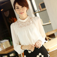 2014 spring and summer women's clothing new fashion casual long-sleeved lace shirt bottoming shirt collar Puff Sleeve Chiffon