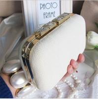 Luxury diamond fashion 2013 women's white clutch bag evening bag bride clutch evening bag everta