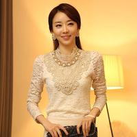 Women's clothing women's 2014 autumn new fashion jewelry decoration elegant lace shirt bottoming shirt long-sleeved shirt