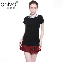 Spring and autumn new arrival Women sweater female short-sleeve shirt basic sweater t-shirt loose
