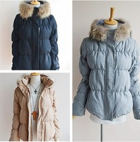 Pageboy real fur raccoon fur woolen thermal down coat three-color