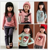 2013 Autumn Hot Selling Girls Pure Cotton Long Sleeve Cartoon Design O-Neck T Shirt Basic Sweatshirts