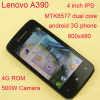 Original Lenovo A390 phone MTK6577 Dual core 4GB ROM 512MB RAM 5.0M Camera Mobile cell android smart  phone GPS free shipping
