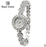 Royal Crown Women Dress Watches Ladies Smart Brand Famous Rhinestone Quartz Watch Vintage Wristwatches Self-Wind Female Clock