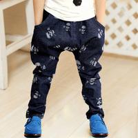 boys pants new arrival pants winter trousers frozen leggings 2014 spring clothing denim trousers jeans skull knitte cotton 6458