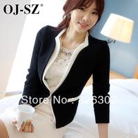 Free shipping 2013 autumn women's patchwork blazer slim medium-long jacket blazer casual female long-sleeve top  plus size suit