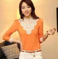Hitz women's clothing 2013 fashion white beaded lace collar bottoming shirt female long-sleeved shirt Slim