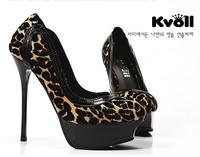 New arrival 2013kvoll platform sexy leopard print women's shoes ultra high heels round toe princess single shoes