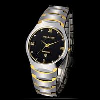 Welasidn Male Rhinestone Tungsten Steel Watch 3ATM Waterproof Commercial Calendar Stainless Steel Men Watch Scratch-resistant