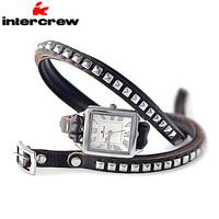 Intercrew Fashion Personality Korea Genuine Leather Bracelet Ladies Stylish Watch Female Trend Fashion Strap Watchband