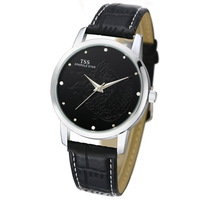 TSS Simple Style Quartz Mens Watch Waterproof Male Strap Lovers Watch Sparkle Star Solid Color Black Free Shippment