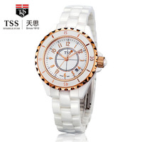 TSS Luxury Fashion Pure White Pearl Ladies Ceramic Watch Trend Waterproof  SuperGold Table Crystal Brand Watches