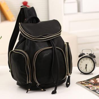 Super smart 2013 autumn backpack mini bag candy color block women's handbag black double sided