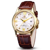 German Proking Calendar 18K Gold Vintage Ultra-thin Top Movement Men Watch Sapphire Crystal Slim Leather Strap Dress Watch