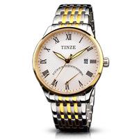 Bundless tinze steel belt calendar luminous waterproof 18k gold plated male mens watch